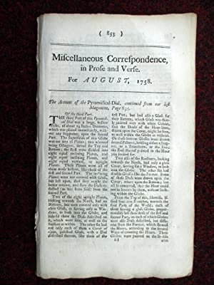 Miscellaneous Correspondence in Prose and Verse. August 1758. inc Description of and the Taking of ...