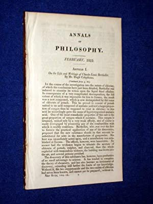 ANNALS of PHILOSOPHY, February 1825. Includes Life & Writings of Claude-Louis Berthollet, ...