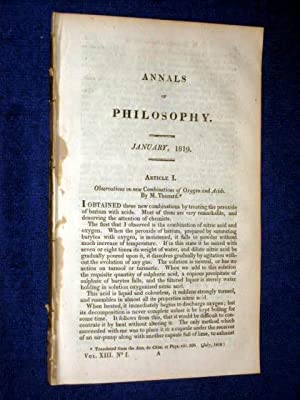 ANNALS of PHILOSOPHY, January 1819. Includes Muriatic Acid Gas, Improved Microscope, Dr Prout on ...