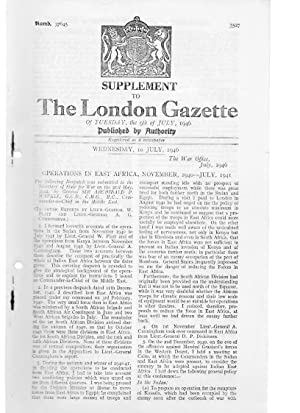 Supplement to The London Gazette of Tuesday, the 9th of July 1946 - Operations in East Africa ...