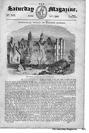 The Saturday Magazine No 702, 16 June 1843 including HARROW SCHOOL,+ HOLDENBY PALACE ...