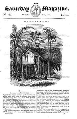 The Saturday Magazine No 715 26 Aug 1843 including INHABITANTS of SUMATRA, + Lesson in Chess - the ...