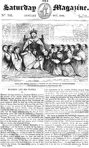 The Saturday Magazine No 741 Jan 1844 including HOLBEIN & HIS WORKS (pt 2), + BERLIN IRON ...