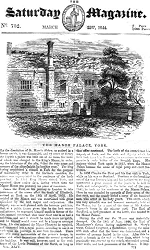 The Saturday Magazine No 752, March 1844 including The MANOR PLACE, York., + The Granite Quarries ...