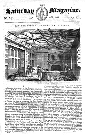 The Saturday Magazine No 763, May 1844 including Historical Notice of the Court of Star Chamber (pt...