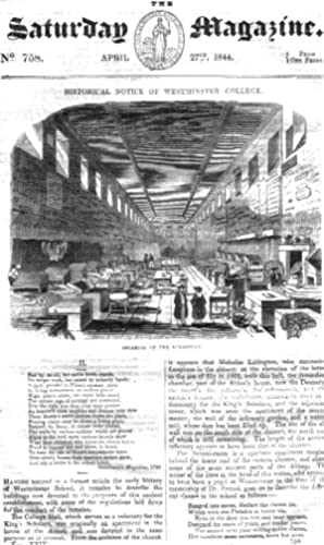 The Saturday Magazine No 758, April 1844 including WESTMINSTER COLLEGE, (pt 2), The OLD CONDUITS of...