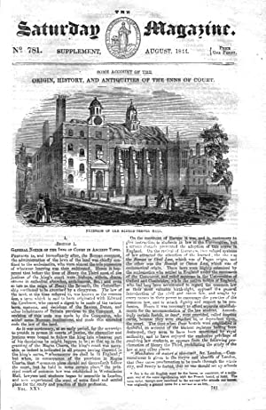 The Saturday Magazine Supplement No 781, August 1844 Containing The ORIGIN, HISTORY and ANTIQUITIES...