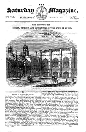 The Saturday Magazine Supplement No 791, October 1844 Containing The ORIGIN, HISTORY and ...