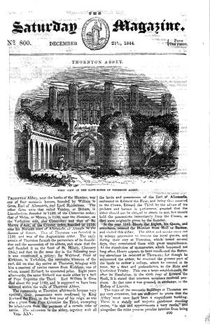 The Saturday Magazine No 800 December 1844 including THORNTON ABBEY, + TINTAGEL CASTLE. (both ...
