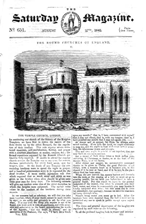 The Saturday Magazine No 651 Aug 1842 including THE ROUND CHURCHES of ENGLAND Pt 2., The TEMPLE ...