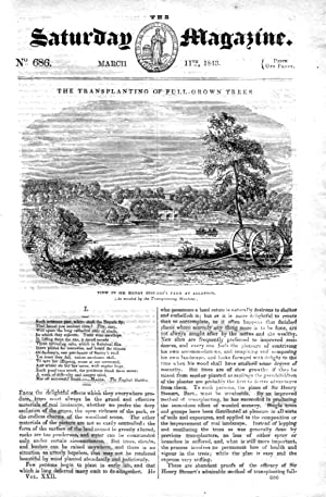 The Saturday Magazine No 686 March 1843 including Transplanting of Fully Grown Trees (pt 1) with ...