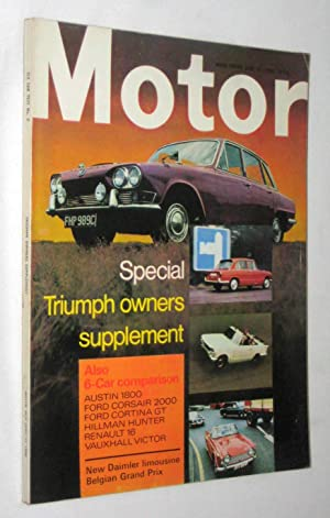 MOTOR. Britain's Best Motoring Magazine. June 15 1968. includes Special Triumph Owners ...
