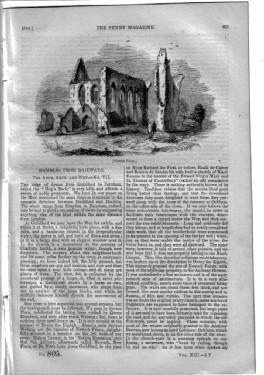 PM 805.The PENNY MAGAZINE 1844 (NEWARK PRIORY & OCKHAM in the Rambles from Railways series on ...
