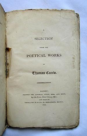 Selection from the Poetical Works of Thomas Carew.: Carew, Thomas