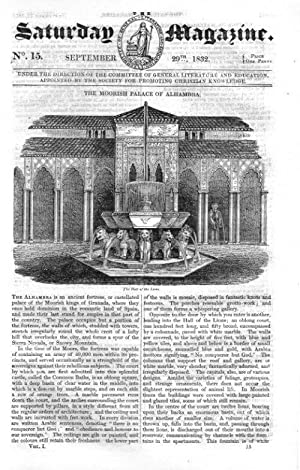 The Saturday Magazine No 15, MORRISH PALACE OF ALHAMBRA, CRAIGMILLAR CASTLE NEAR EDINBURGH, 1832,: ...