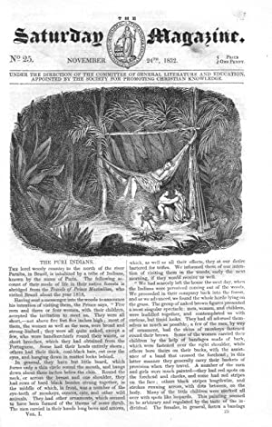 The Saturday Magazine No 25, PURI INDIANS Brazil, LANDER's Expedition to Africa 1832: John ...