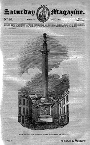 The Saturday Magazine No 46, The MONUMENT London, BISHOP HEBER Calcutta,1833: John William Parker, ...