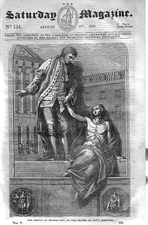 The Saturday Magazine No 134, CONISBOROUGH CASTLE,Yorks,NORTH CAPE, Statue of Thomas Guy in the ...