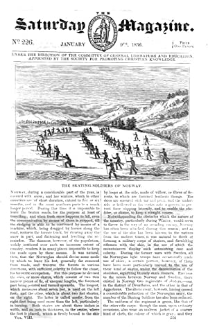 The Saturday Magazine No 226, NORWAY SKATING SOLDIERS, Charcoal (2), 1836: John William Parker, ...