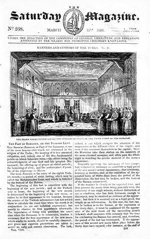 The Saturday Magazine No 238, Customs of TURKS (2) Ramazan, CHAMELEON, 1836: John William Parker, ...