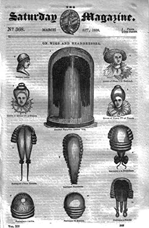 The Saturday Magazine No 368, On WIGS & Head-dresses (Part 1), Arnott THERMOMETER STOVE 1838: ...