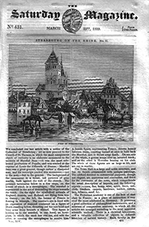 The Saturday Magazine No 431, STRASBOURG on the Rhine (Part 2), CLEPSYDRA WaterClock, SLATE, 1839: ...