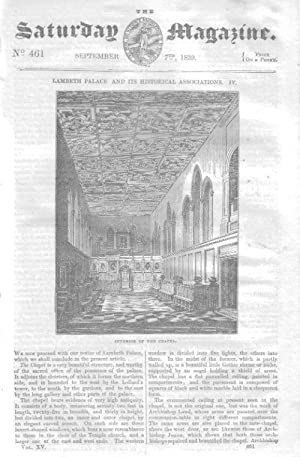 The Saturday Magazine No 461, LAMBETH PALACE and It's Historical Associations (Part 4),+ The ...