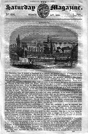 The Saturday Magazine No 494, LEIPSIC Slavonia, WHITEHALL PALACE, TEHRAN,1840: John William Parker,...