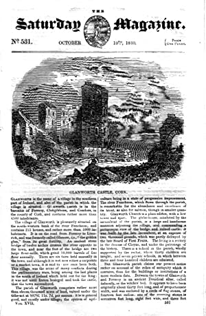 The Saturday Magazine No 531,GLANWORTH CASTLE Cork,St GEORGE Ship,QUAGGA,1840: John William Parker,...