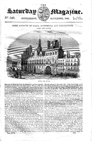 The Saturday Magazine No 540, Supplement Issue - Some Account of PARIS, Historical and Descriptive ...