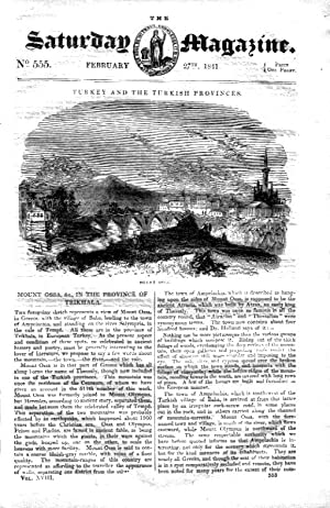The Saturday Magazine No 555, Mount OSSA Greece,+ ICEBERGS,+ COWRIES. 1841: John William Parker, ...