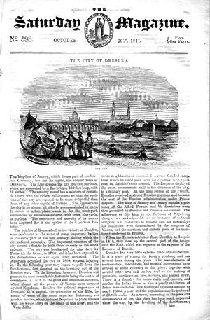The Saturday Magazine No 598, DRESDEN + PHEASANT SHOOTING,1841,: John William Parker, Saturday ...
