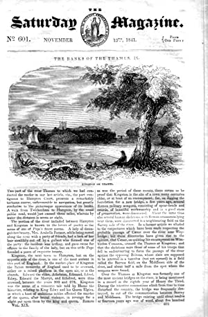 The Saturday Magazine No 601, The Banks of the Thames - (Part 9) -KINGSTON on THAMES,+ EGYPT MOVING...