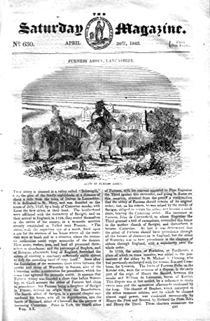 The Saturday Magazine No 630, FURNESS ABBEY, Lancs, TALLIES, CHESS, 1842: John William Parker, ...