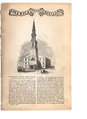 The American Miscellany. 1840, No 38 PROVIDENCE CHURCH, RHODE ISLAND, The First Baptist Church in ...