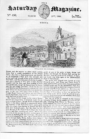 The Saturday Magazine No 496, GENOA, + BYCKNACRE PRIORY, Essex, 1840,: John William Parker, ...