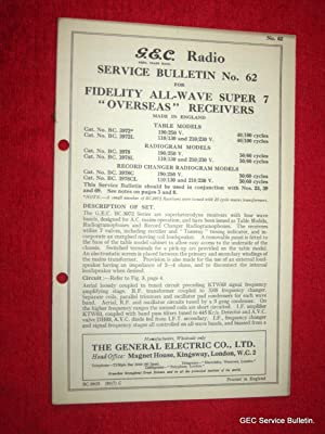 G.E.C. Radio Service Bulletin No 62. For FIDELITY ALL-WAVE SUPER 7 OVERSEAS RECEIVERS. BC.3972, BC...