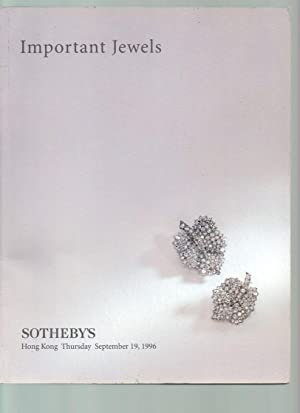 Important Jewels 19 September 1996 Sotheby's Hong: Sotheby & Co.,