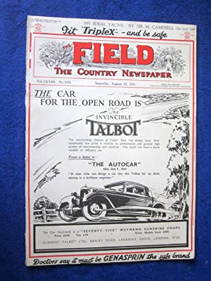 The Field, The Country Newspaper, 15 August 1931, Magazine. including Duchess of Sutherland, ...