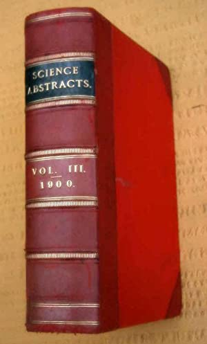 Science Abstracts, Physics & Electrical Engineering, Vol III, Vol 3. 1900, 3/4 Leather ...