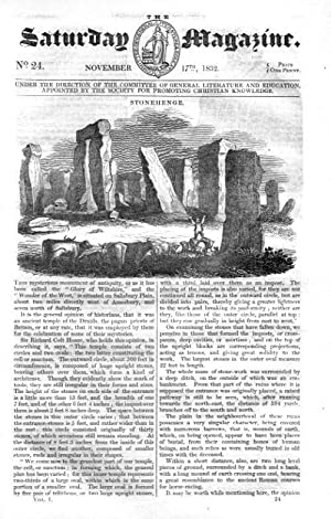 The Saturday Magazine No 24, STONEHENGE, The White TIGER, BISHOP HOUGH, 1832: John William Parker, ...