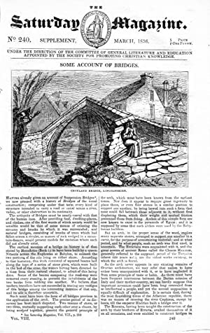 The Saturday Magazine No 240, BRIDGES, AQUEDUCTS, Croyland Lincs, Supplement. 1836: John William ...