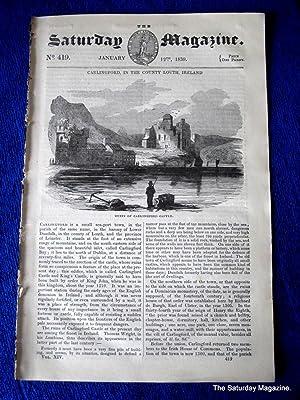 The Saturday Magazine No 419, CARLINGFORD CASTLE, County Louth, IRELAND 1839: John William Parker, ...