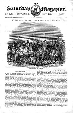 The Saturday Magazine No 572, INDIA to ENGLAND OVERLAND route 3 Black Sea, 1841 Supplement.: John ...