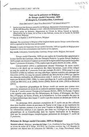 Note sur la présence en Belgique de: DRUMONT Alain, &