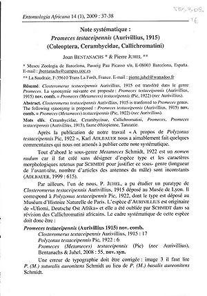 Note systématique : Promeces testaceipennis (Aurivillius, 1915): BENTANACHS Joan, JUHEL