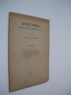 REVISTA CRÍTICA HISPANO-AMERICANA. TOMO III. NUM. 1: A. BONILLA Y