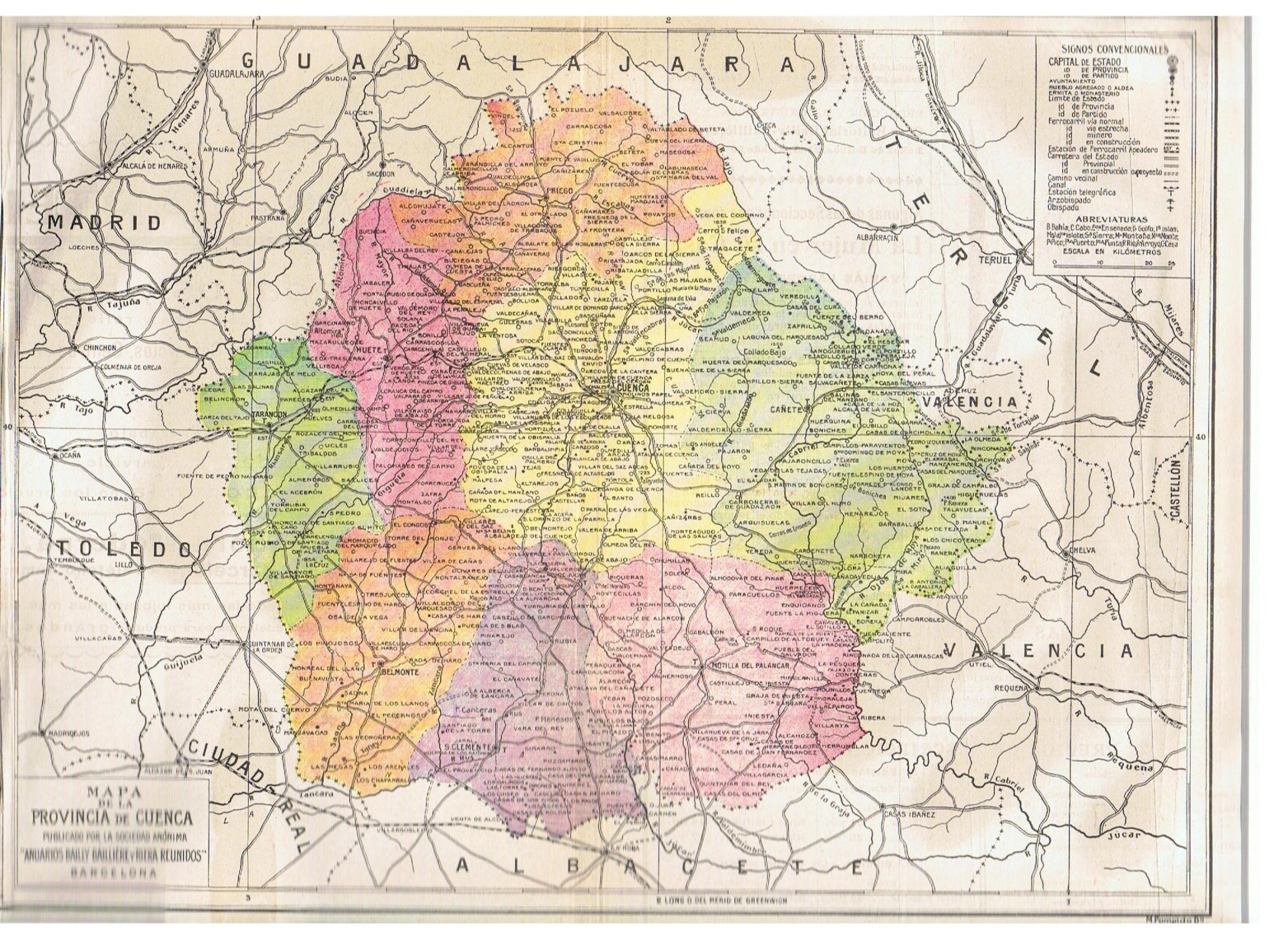 Mapa Provincia De Cuenca España.Mapa De La Provincia De Cuenca