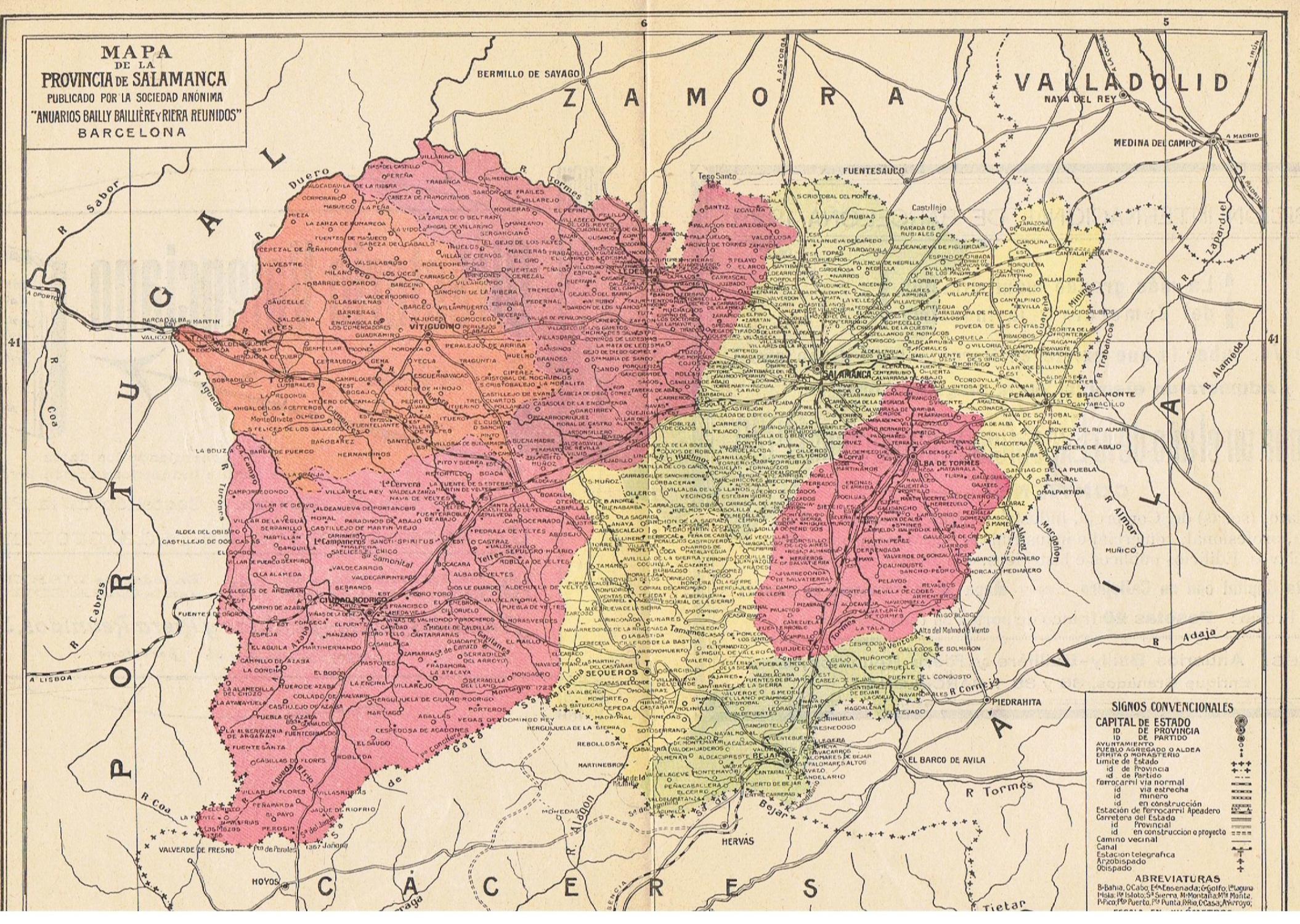 Provincia De Salamanca Mapa.Mapa De La Provincia De Salamanca