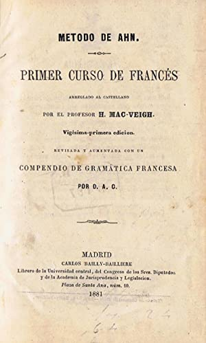 METODO DE AHN. PRIMER CURSO DE FRANCÉS.: Mac-Veig. H.